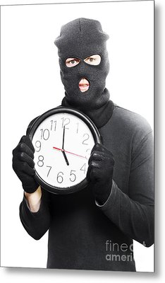 Male Criminal In Mask Holding A Clock Metal Print by Jorgo Photography - Wall Art Gallery