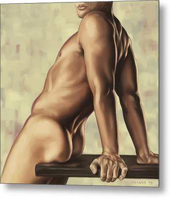 Male Nude 2 Metal Print by Simon Sturge