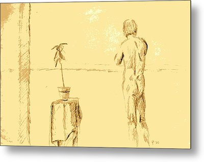Male Nude By House Plant Metal Print