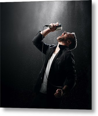 Male Singer Performing Metal Print by Johan Swanepoel