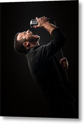Male Singer Singing In Mic Metal Print