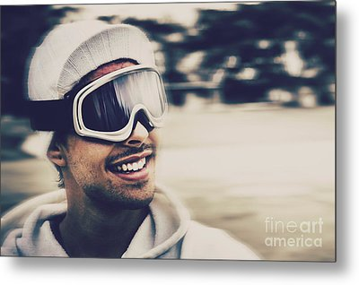 Male Snowboarder Wearing Ski Goggles And Smile Metal Print by Jorgo Photography - Wall Art Gallery