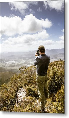 Male Tourist Taking Photo On Mountain Top Metal Print by Jorgo Photography - Wall Art Gallery