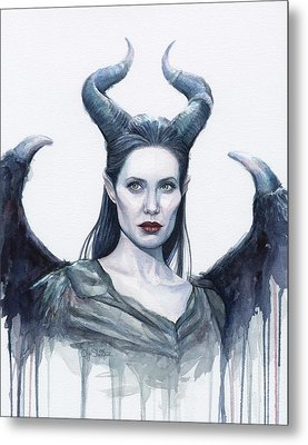 Maleficent Watercolor Portrait Metal Print