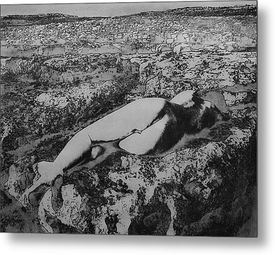 Metal Print featuring the photograph Malham Cove Nude, Yorkshire by Richard Wiggins
