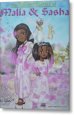 Metal Print featuring the digital art Malia And Sasha by Artists With Autism Inc