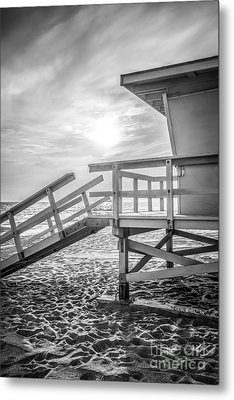 Malibu Lifeguard Tower #3 Black And White Photo Metal Print by Paul Velgos
