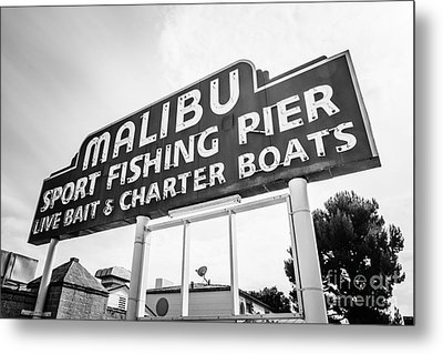 Malibu Pier Sign Black And White Photo Metal Print by Paul Velgos