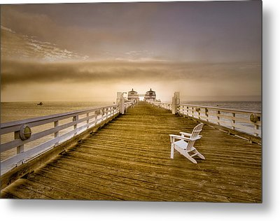 Malibu Pier Sunrise Foggy Morning Metal Print
