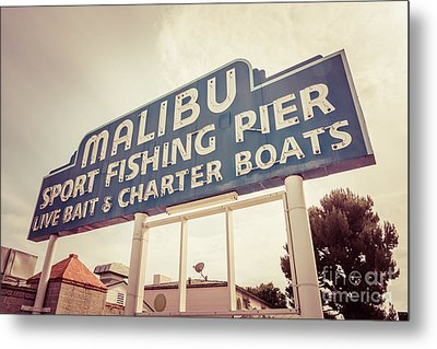 Malibu Sign Sport Fishing Pier Picture Metal Print by Paul Velgos