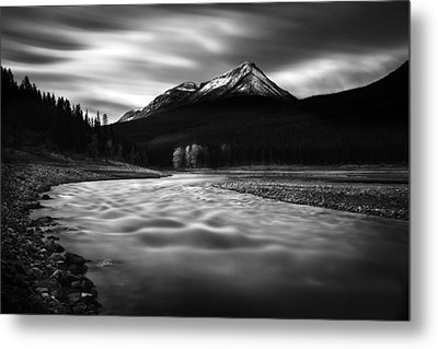Maligne River Autumn Metal Print