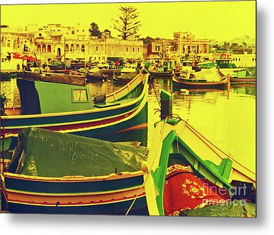 Maltese Fishing Village Metal Print