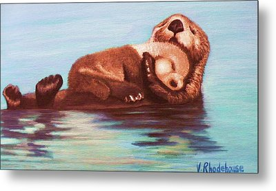 Mama And Baby Otter Metal Print