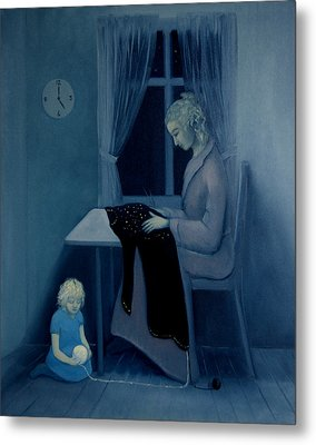 Metal Print featuring the painting Mama Knitting Big Sister Home by Tone Aanderaa