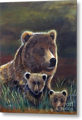 Metal Print featuring the painting Mammas Warmth by Leslie Allen