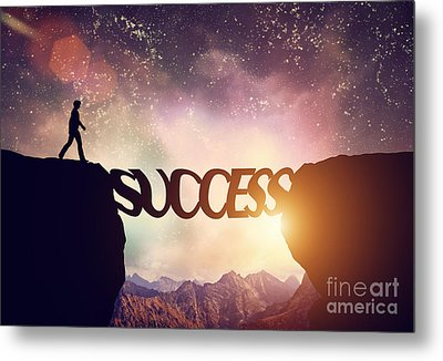 Man About To Walk Over Precipice On Success Word Bridge Metal Print by Michal Bednarek