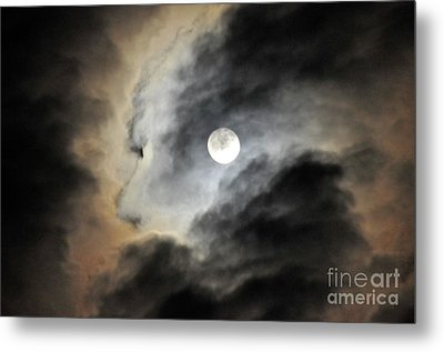 Metal Print featuring the photograph Man And Moon by Cindy Lee Longhini