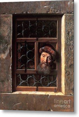 Man At A Window Metal Print by Samuel van Hoogstraten