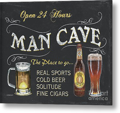 Man Cave Chalkboard Sign Metal Print by Debbie DeWitt
