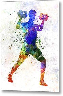 Man Exercising Weight Training Metal Print by Pablo Romero