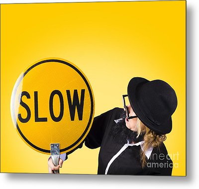 Man Holding Slow Sign During Adverse Conditions Metal Print by Jorgo Photography - Wall Art Gallery