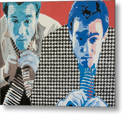 Man In A Houndstooth Suit Metal Print by Pete Nawara