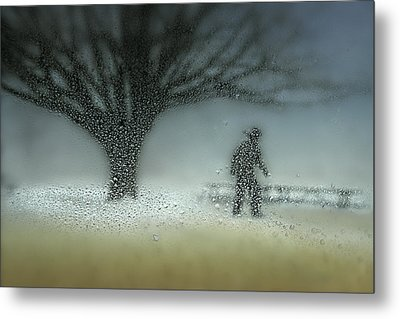Man In Nature - Winter Metal Print by Shenshen Dou
