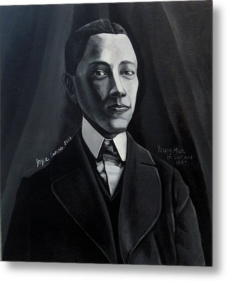 Man In Suit And Vest Out Of The Box Series Metal Print by Joyce Owens