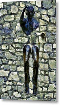 Man In Wall - Da Metal Print by Leonardo Digenio