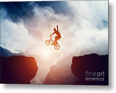 Man Jumping On Bmx Bike Over Precipice In Mountains At Sunset Metal Print