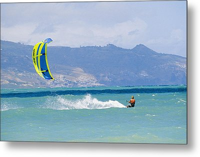Man Kiteboarding In Turquoise Water Metal Print by Mark Cosslett