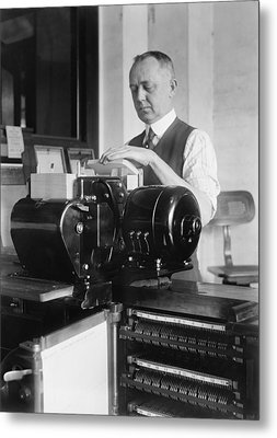 Man Loading Punch Cards Metal Print by Everett