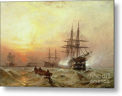 Man-o-war Firing A Salute At Sunset Metal Print