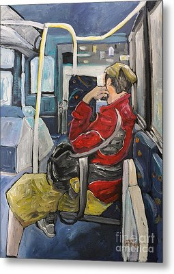 Man On 107 Bus Verdun Metal Print by Reb Frost