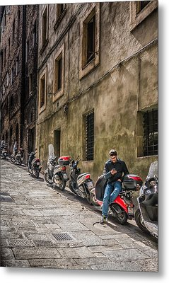 Man On A Scooter Siena-style Metal Print