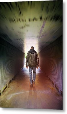 Man On A Tunnel Metal Print by Carlos Caetano