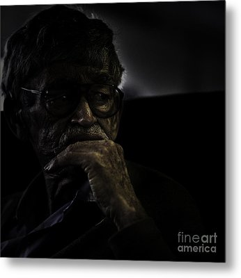 Man On Ferry Metal Print by Avalon Fine Art Photography