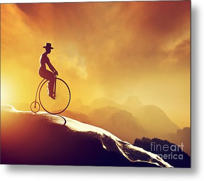 Man On Retro Bicycle Riding Downhill Metal Print by Michal Bednarek