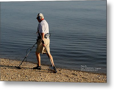 Metal Print featuring the photograph Man On The Beach by Paul SEQUENCE Ferguson             sequence dot net