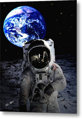 Man On The Moon Metal Print by Tray Mead