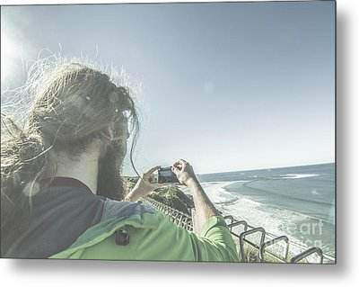 Man Photographing Angelsea On The Great Ocean Road Metal Print