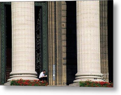 Man Reading A Book Beside The Columns Of La Madeleine Church In Paris Metal Print