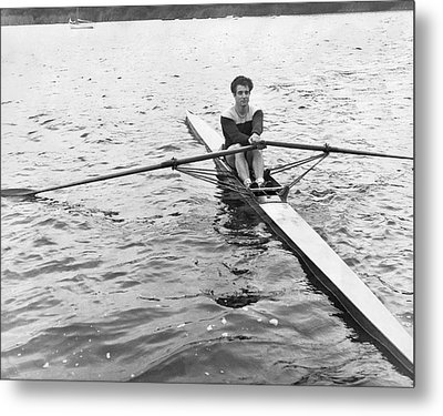 Man Rowing A Scull Metal Print