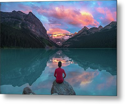 Metal Print featuring the photograph Man Sit On Rock Watching Lake Louise Morning Clouds With Reflect by William Lee