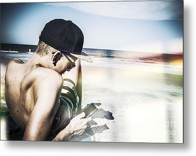 Man Using Mobile Smart Phone Technology Metal Print by Jorgo Photography - Wall Art Gallery