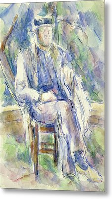 Man Wearing A Straw Hat Metal Print by Paul Cezanne