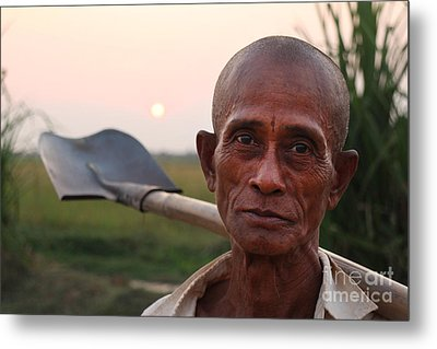 Man With Shovel Metal Print