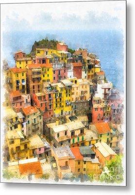Manarola Italy Cinque Terre Watercolor Metal Print