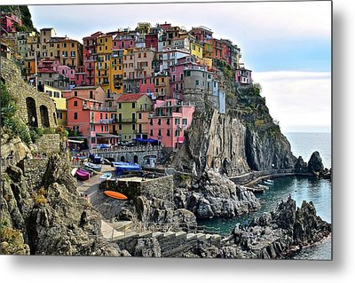 Metal Print featuring the photograph Manarola Version Four by Frozen in Time Fine Art Photography