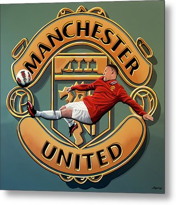 Manchester United - Manchester Painting Metal Print by Paul Meijering